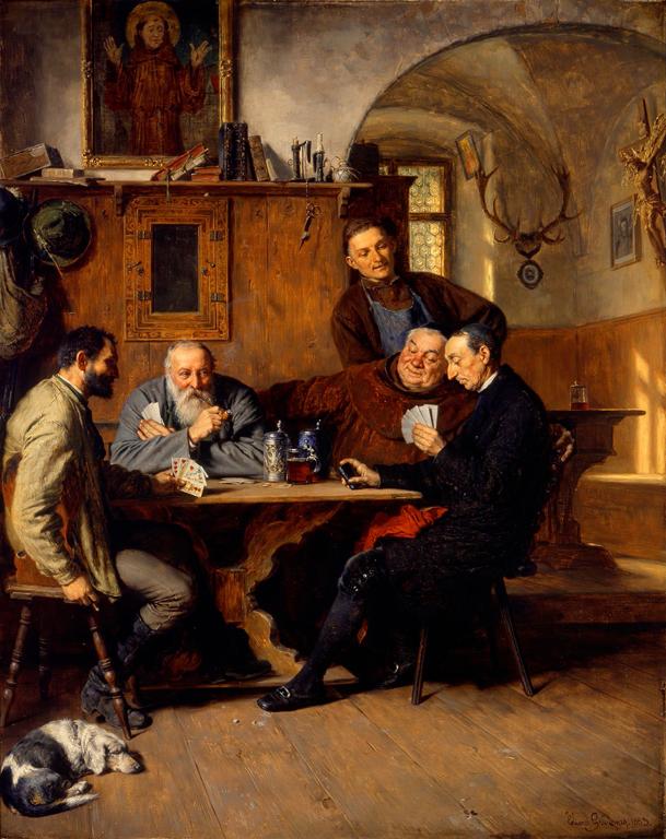 Eduard von Grützner (German, 1846–1925). The Card Players, 1883. Oil on canvas. Milwaukee Art Museum, Gift of René von Schleinitz M1967.67. Photo credit: Larry Sanders.