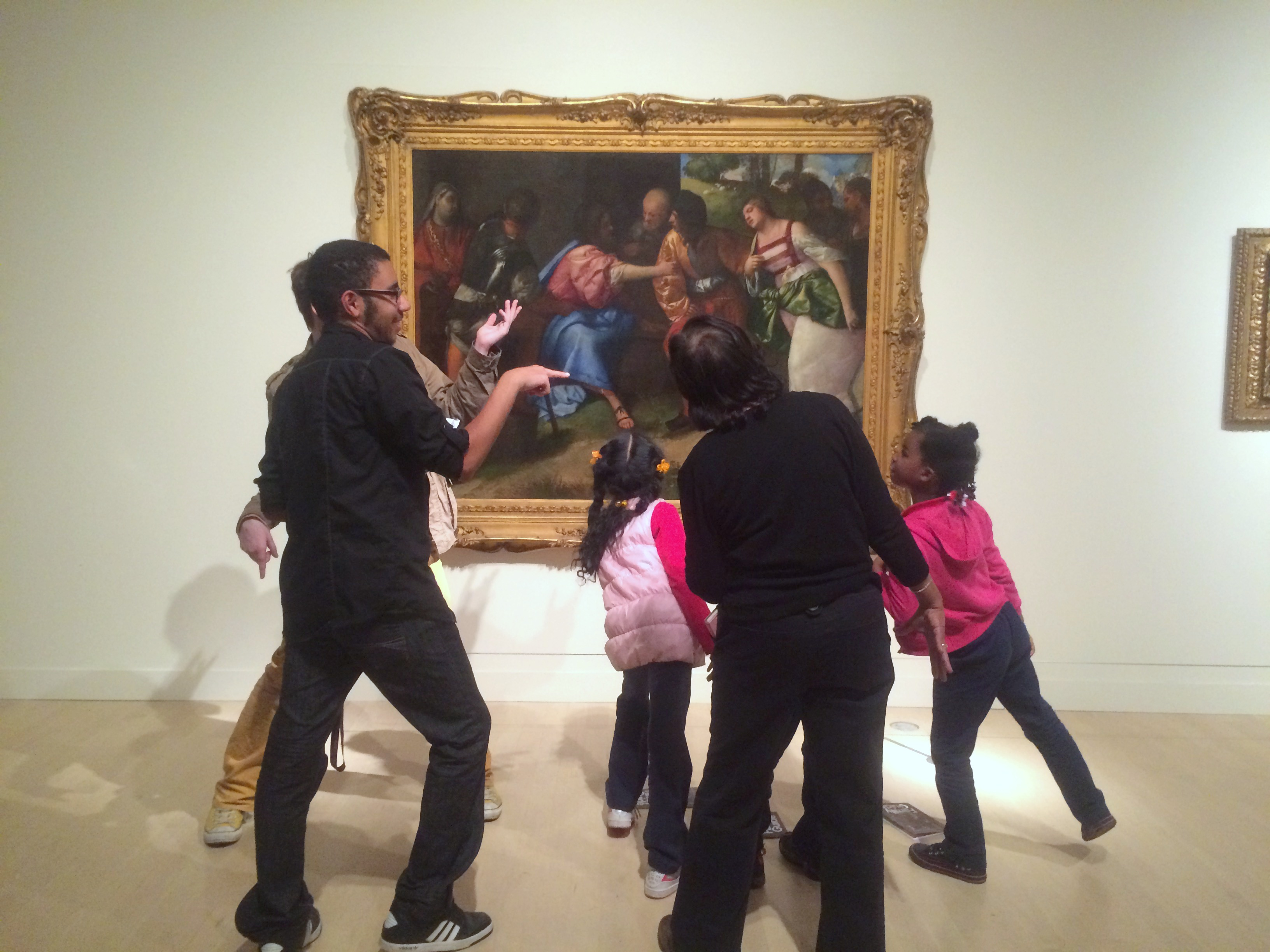 """Mike, Nick, and students from MPS elementary schools create a Titian-inspired tableaux vivant--""""living painting""""! Photo by Chelsea Emelie Kelly"""