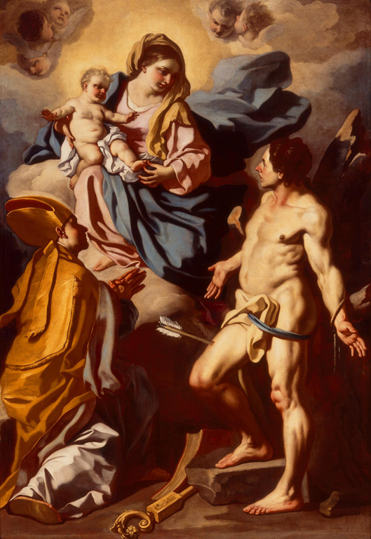 Francesco Solimena (Italian, 1657–1747), Madonna and Child with St. Januarius and St. Sebastian, ca. 1700. Oil on canvas. Milwaukee Art Museum, Gift of Friends of Art M1964.35. Photo credit: Larry Sanders.