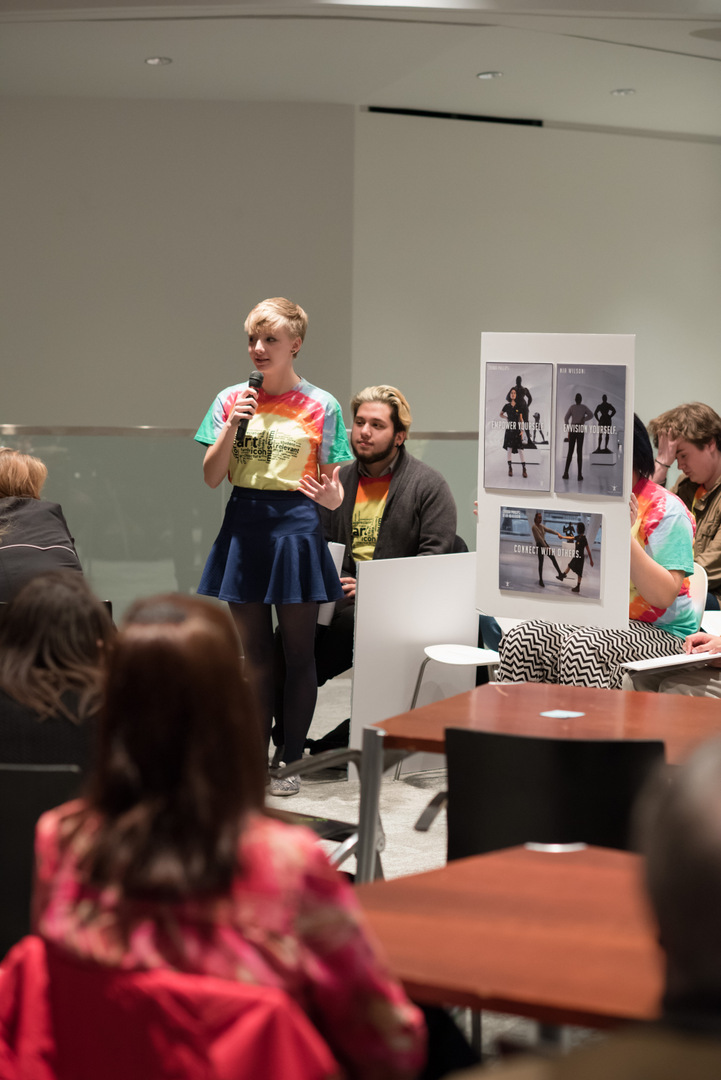 Sophie shares her final project. Photo by Front Room Photography