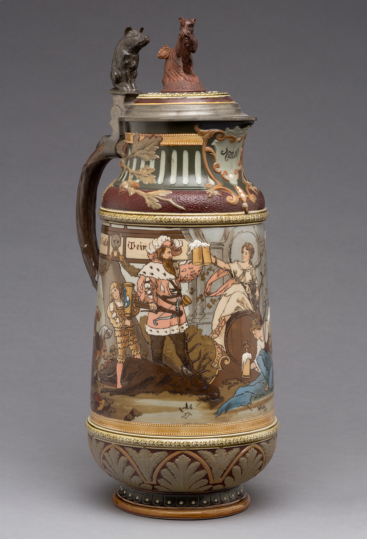 """Villeroy & Boch (Mettlach, Saarland, Germany, established 1836). """"2205"""" Covered Pitcher, 1897. Stoneware, with colored slip and glaze decoration, gilding, and pewter. Milwaukee Art Museum, Gift of the René von Schleinitz Foundation M1962.666. Photo credit: John R. Glembin."""