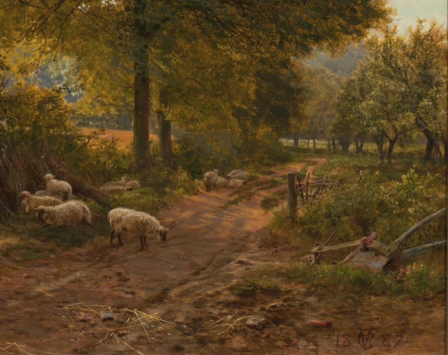 Detail of George Vicat Cole (English, 1833–1893), At Arundel, Sussex, 1887. Oil on canvas, 32 1/2 × 52 1/16 in. (82.55 × 132.24 cm). Milwaukee Art Museum, Layton Art Collection, Gift of J.M. Durand. L1888.17 Photo credit: John R. Glembin