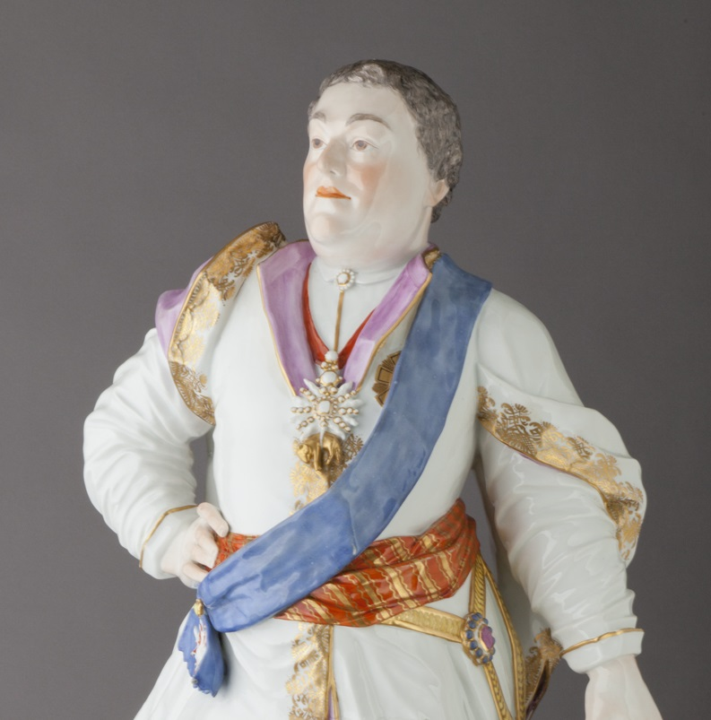 Detail of Meissen Porcelain Manufactory (Dresden, Germany, established 1710). Augustus III, King of Poland, 18th century. Glazed porcelain, with polychrome overglaze decoration, and gilding, 30 × 16 1/2 × 13 1/4 in. (76.2 × 41.91 × 33.66 cm). Milwaukee Art Museum, Gift of the René von Schleinitz Foundation, M1962.364. Photo credit: John R. Glembin