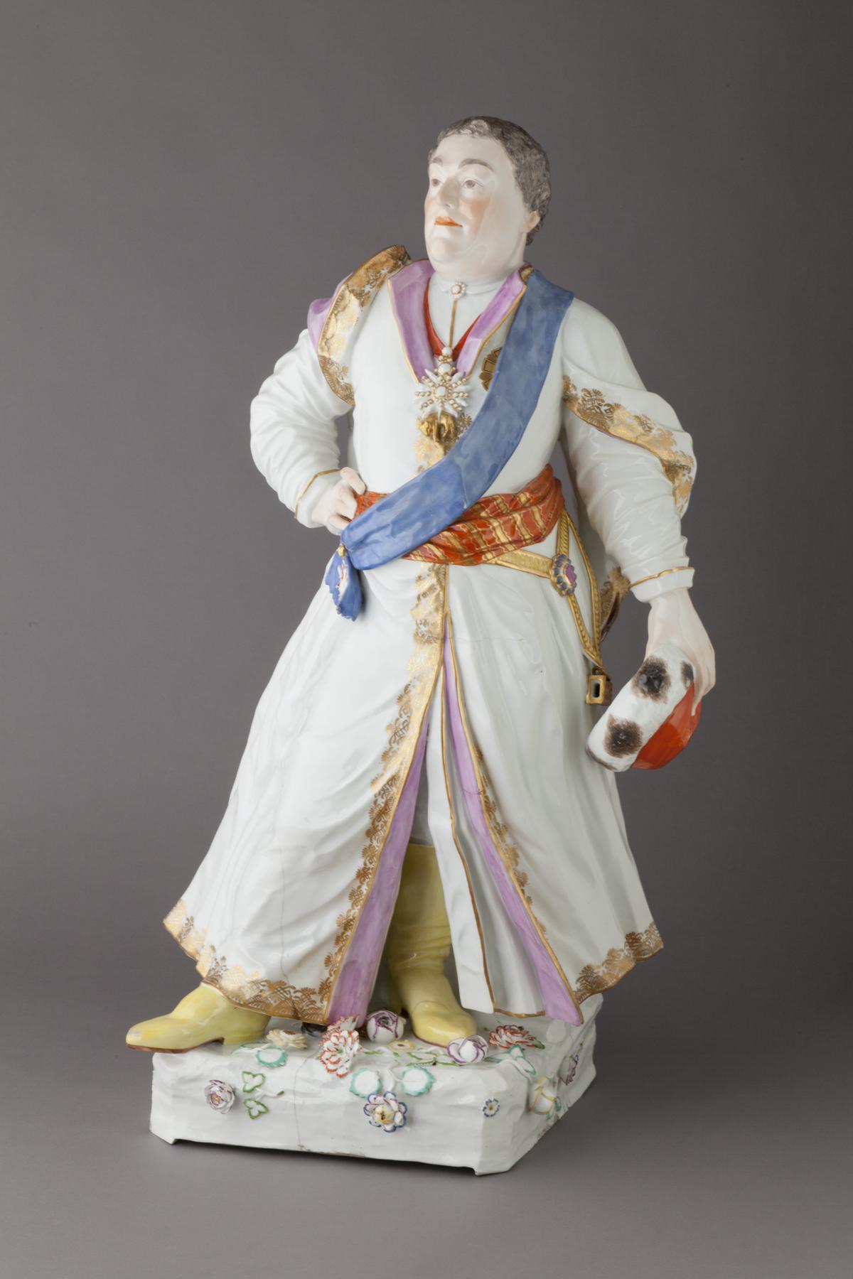 Meissen Porcelain Manufactory (Dresden, Germany, established 1710). Augustus III, King of Poland, 18th century. Glazed porcelain, with polychrome overglaze decoration, and gilding, 30 × 16 1/2 × 13 1/4 in. (76.2 × 41.91 × 33.66 cm). Milwaukee Art Museum, Gift of the René von Schleinitz Foundation, M1962.364. Photo credit: John R. Glembin