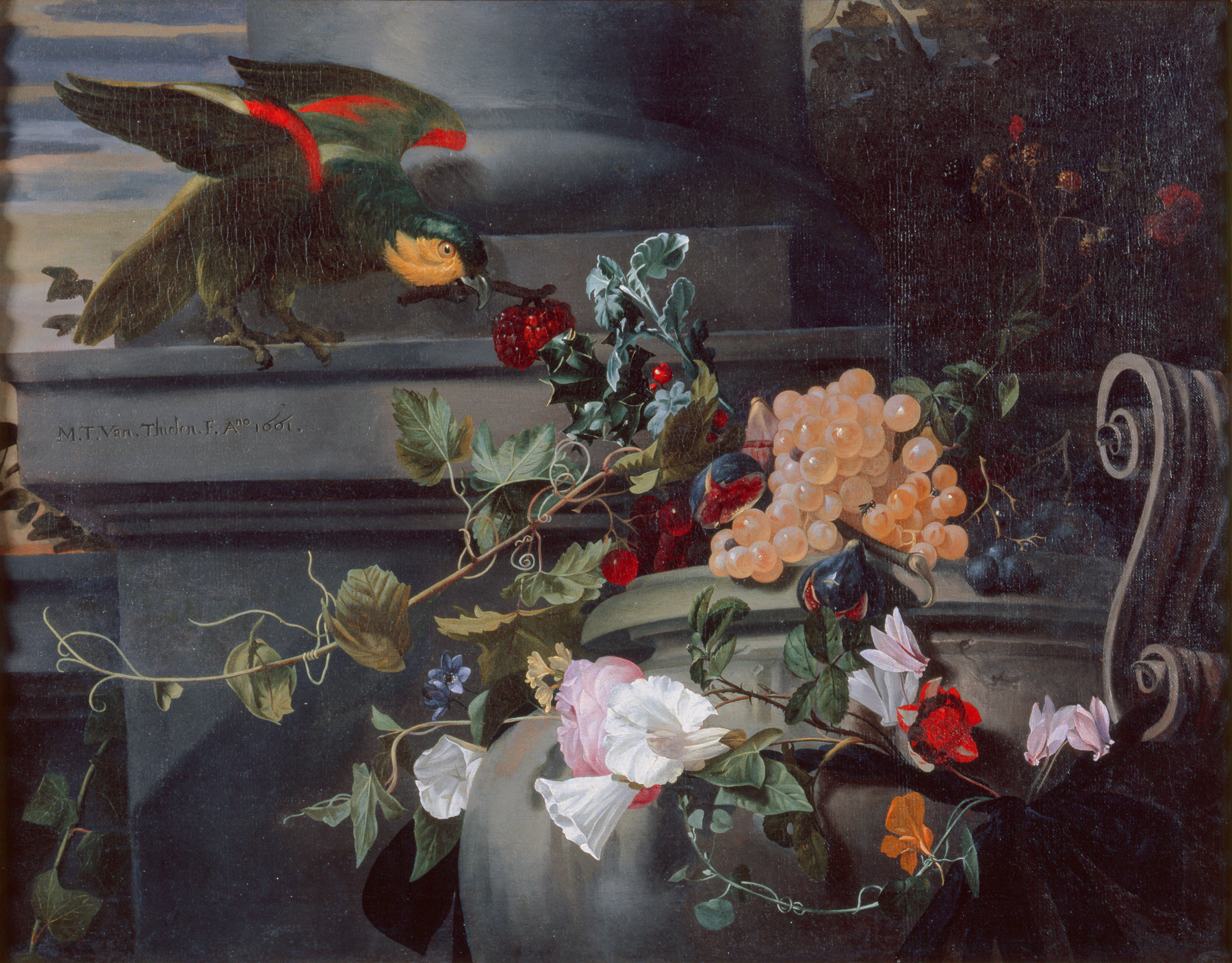 Maria-Theresia van Thielen (Flemish, 1640–1706), Still Life with Parrot, 1661. Oil on canvas. 21 × 27 in. (53.34 × 68.58 cm). Milwaukee Art Museum, gift of Mr. and Mrs. John Schroeder in memory of their parents. M1967.41