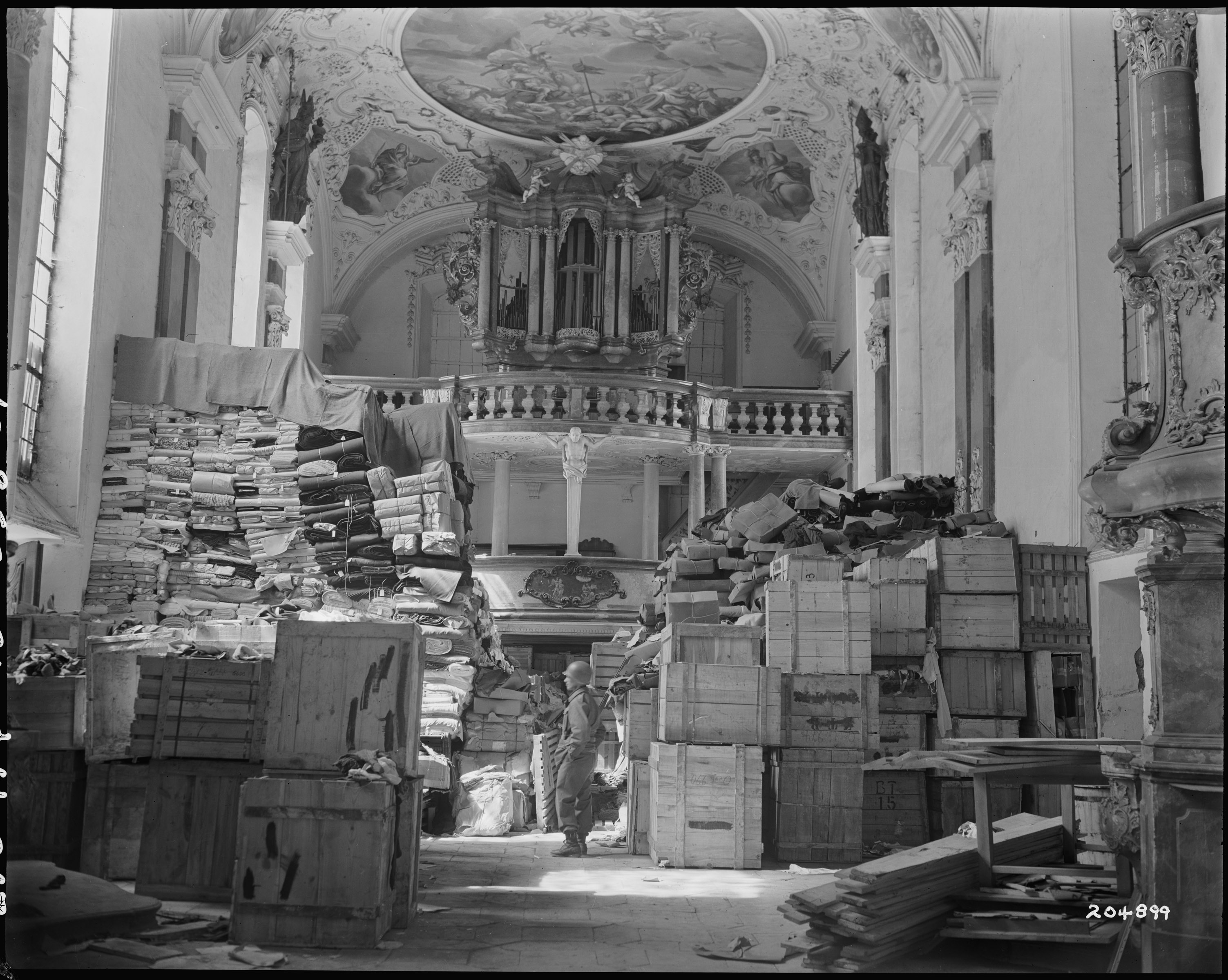 German loot stored in church at Ellingen, Germany found by troops of the U.S. Third Army. 4/24/45. National Archives RG 111-SC-204899.