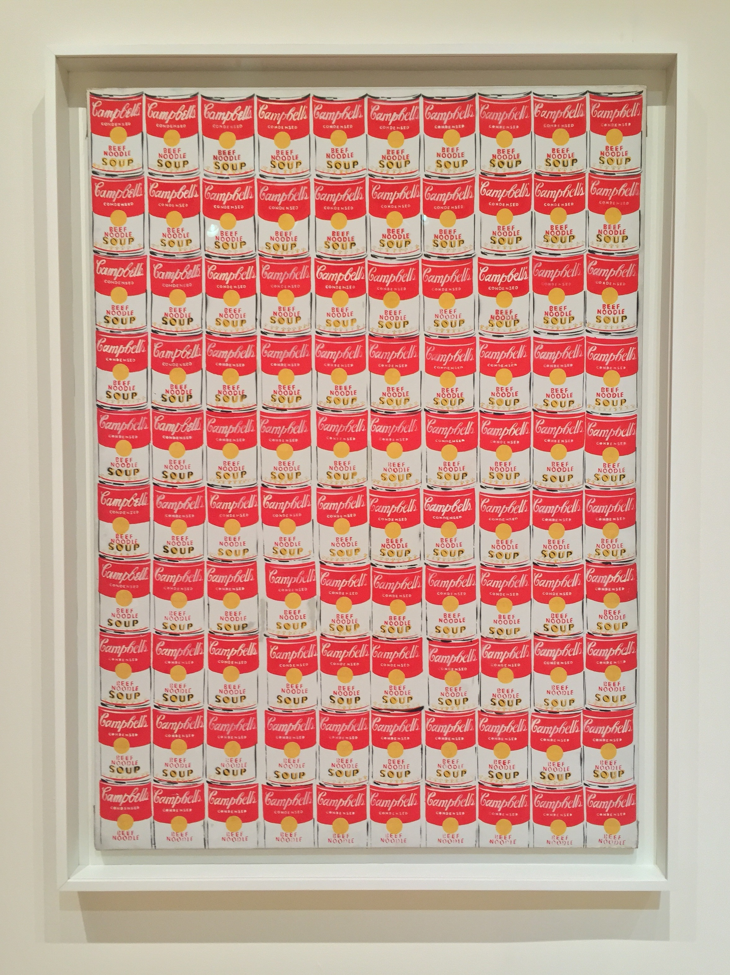 Andy Warhol's 100 Cans in the exhibition Van Gogh to Pollock: Modern Rebels, Masterworks from the Albright-Knox Art Gallery. Photo by the author.