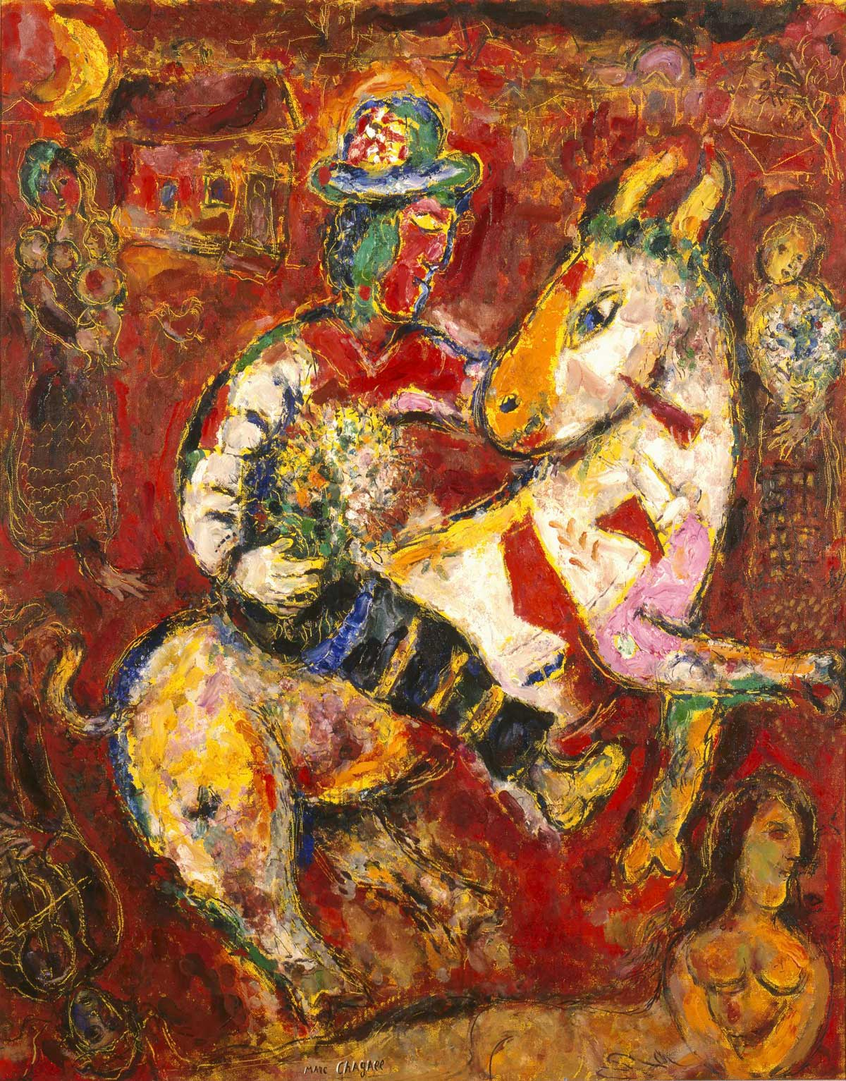 Man on the back of a horse holding a bouquet of flowers