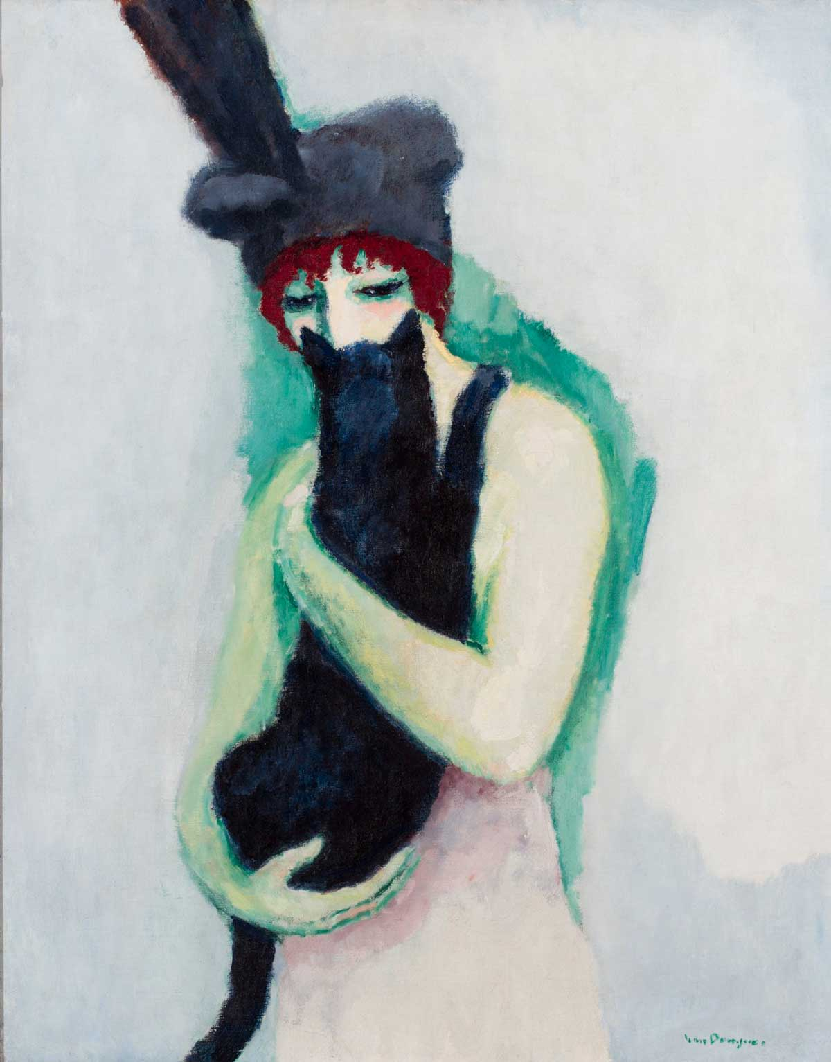 Woman in red hair and a large black hat holding a black cat