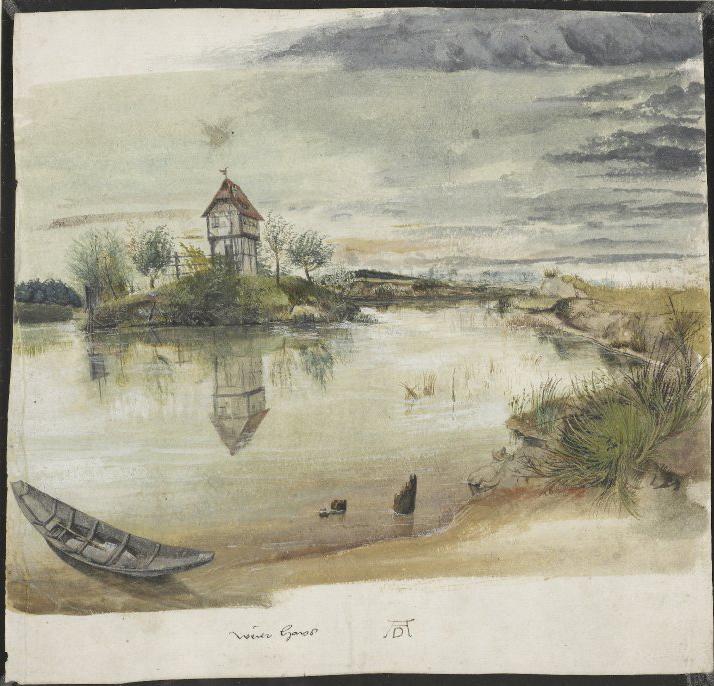 Albrecht Dürer (German, 1471–1528), A Wierehaus (Fisherman's House) on a Lake, ca. 1497. Watercolor and bodycolor. The British Museum SL,5218.165. © Trustees of the British Museum.