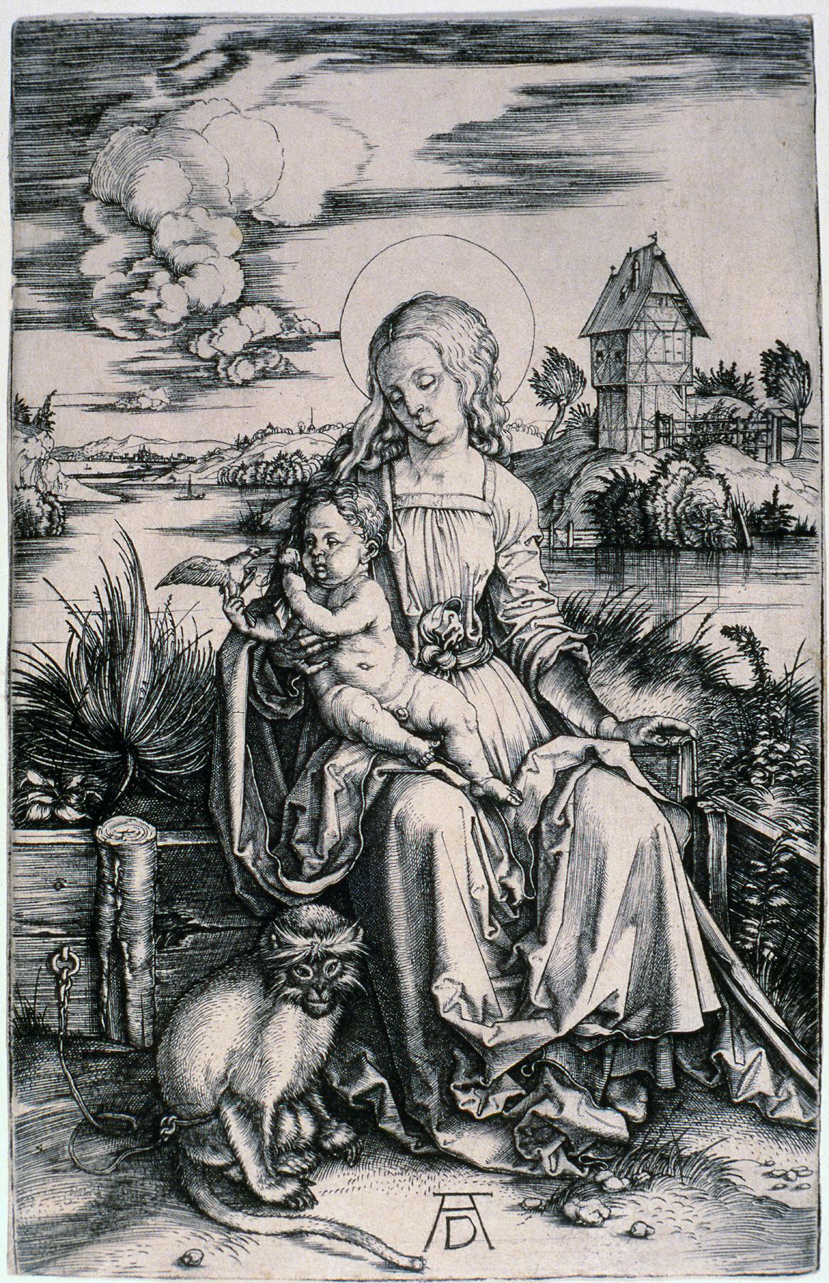 Albrecht Dürer (German, 1471–1528), Madonna with the Monkey, ca. 1498. Engraving. Milwaukee Art Museum, Gertrude Nunnemacher Schuchardt Collection, presented by William H. Schuchardt M1924.169. Photo credit: P. Richard Eells.