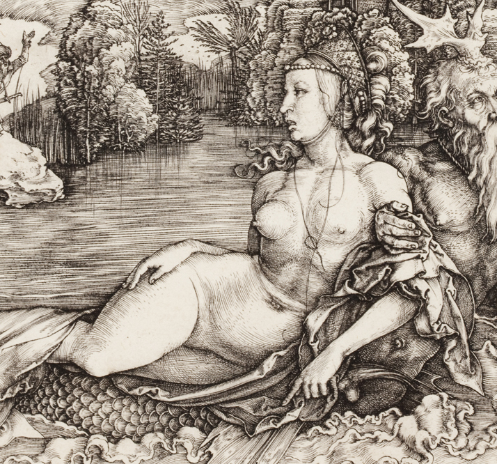 Albrecht Dürer (German, 1471–1528), The Sea Monster (Das Meerwunder) (detail), 1498. Engraving. Milwaukee Art Museum, Gertrude Nunnemacher Schuchardt Collection, presented by William H. Schuchardt M1924.173. Photo credit: John R. Glembin.