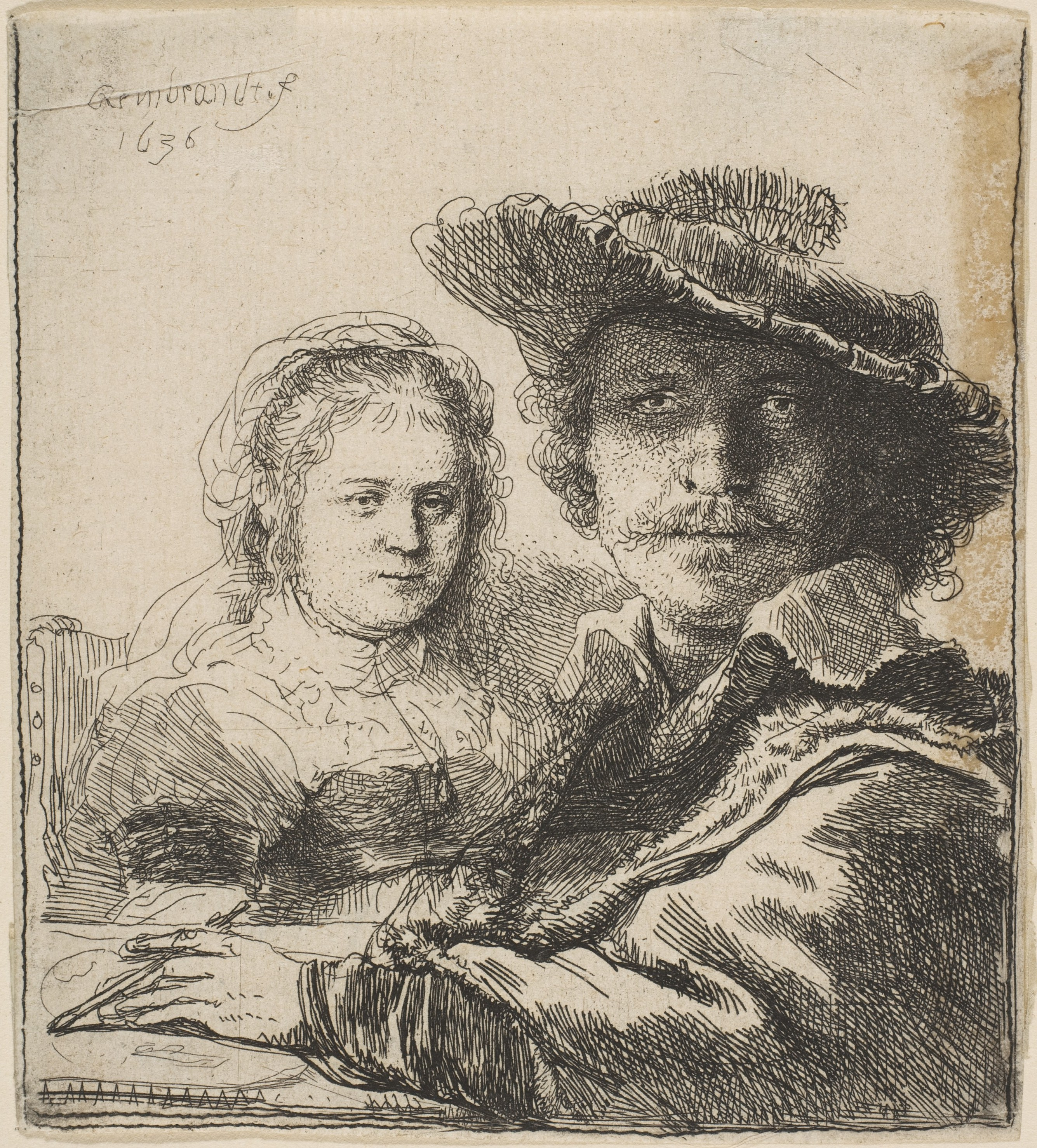 Rembrandt van Rijn (Dutch, 1606–1669), Self-Portrait with Saskia, 1636. Etching. The Metropolitan Museum of Art, Gift of Henry Walters, 1917, 17.37.71.
