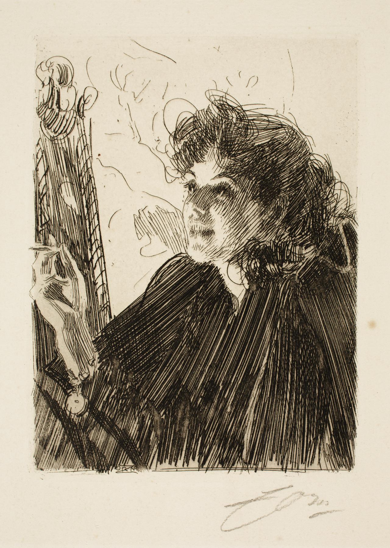 Anders Leonard Zorn (Swedish, 1860–1920), Girl With A Cigarette II, 1891. Etching. Milwaukee Art Museum, Gertrude Nunnemacher Schuchardt Collection, presented by William H. Schuchardt M1924.131. Photo credit: John R. Glembin.