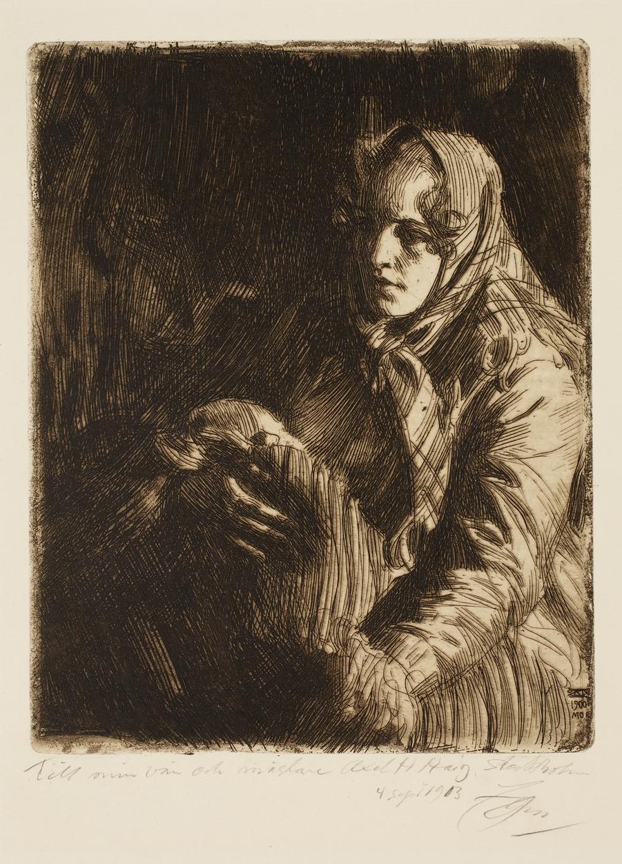 Anders Leonard Zorn (Swedish, 1860–1920), Madonna, 1900. Etching. Milwaukee Art Museum, Gertrude Nunnemacher Schuchardt Collection, presented by William H. Schuchardt M1924.136. Photo credit: John R. Glembin.