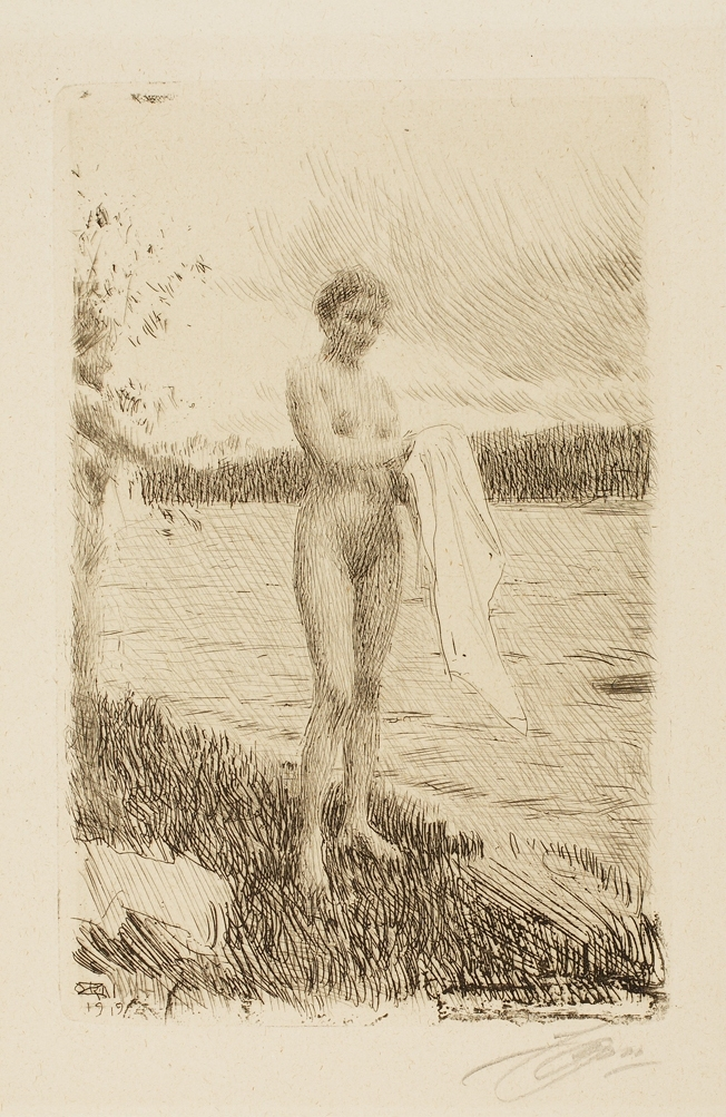 Anders Leonard Zorn (Swedish, 1860–1920), Dal River (Dalälven), 1919. Etching, roulette, drypoint, and engraving. Milwaukee Art Museum, Gift of Mr. Lindsay Hoben M1966.111. Photo credit: John R. Glembin