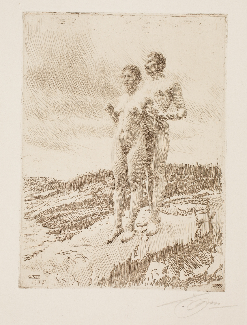 Anders Leonard Zorn (Swedish, 1860–1920), The Two (De två), 1916. Etching, engraving, and possibly drypoint. Milwaukee Art Museum, Gift of Mr. Lindsay Hoben M1966.92. Photo credit: John R. Glembin