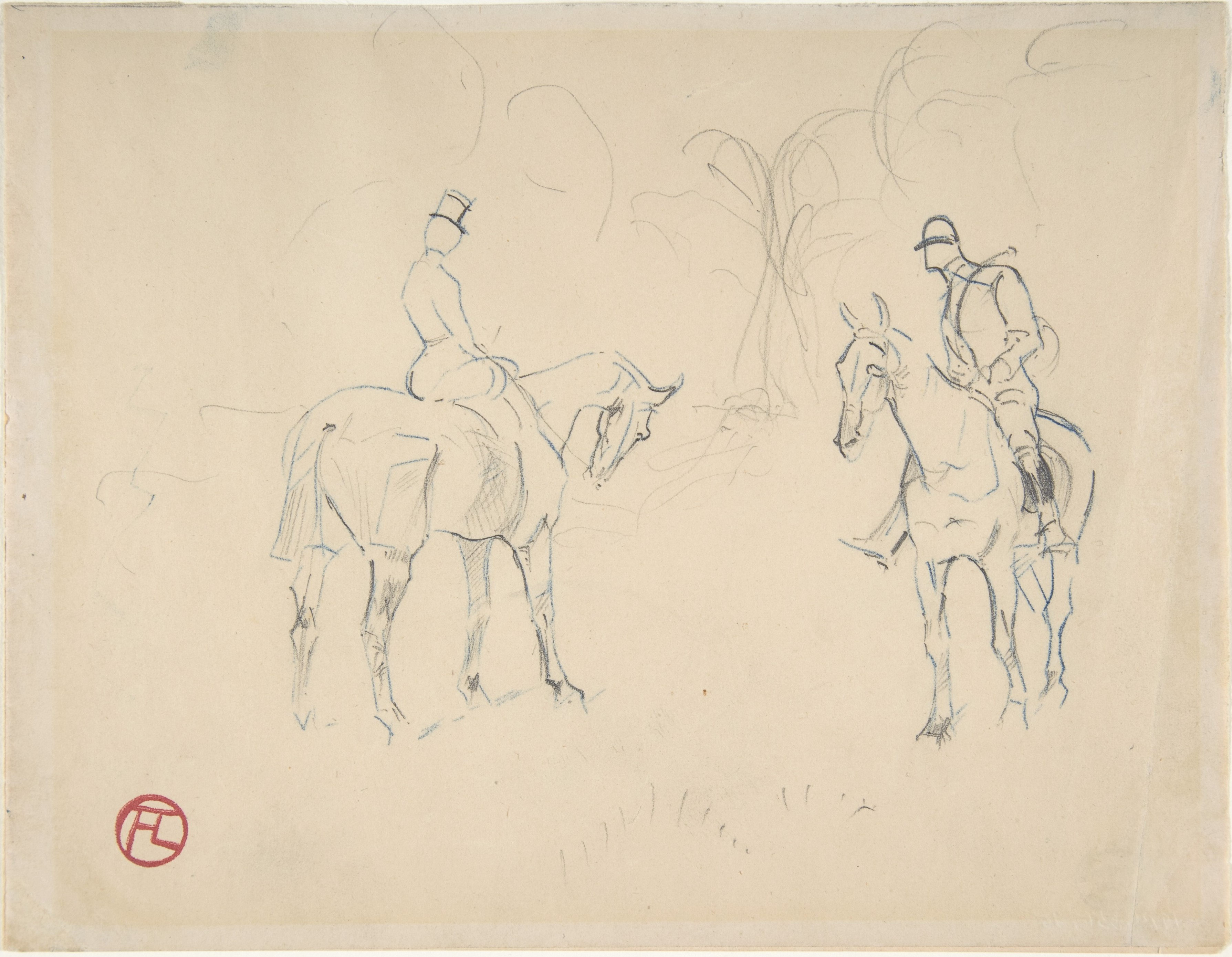 Henri de Toulouse-Lautrec (French, 1864–1901), A Woman and a Man on Horseback, 1879–81. Blue crayon, graphite. The Metropolitan Museum of Art, The Lesley and Emma Sheafer Collection, Bequest of Emma A. Sheafer, 1974.
