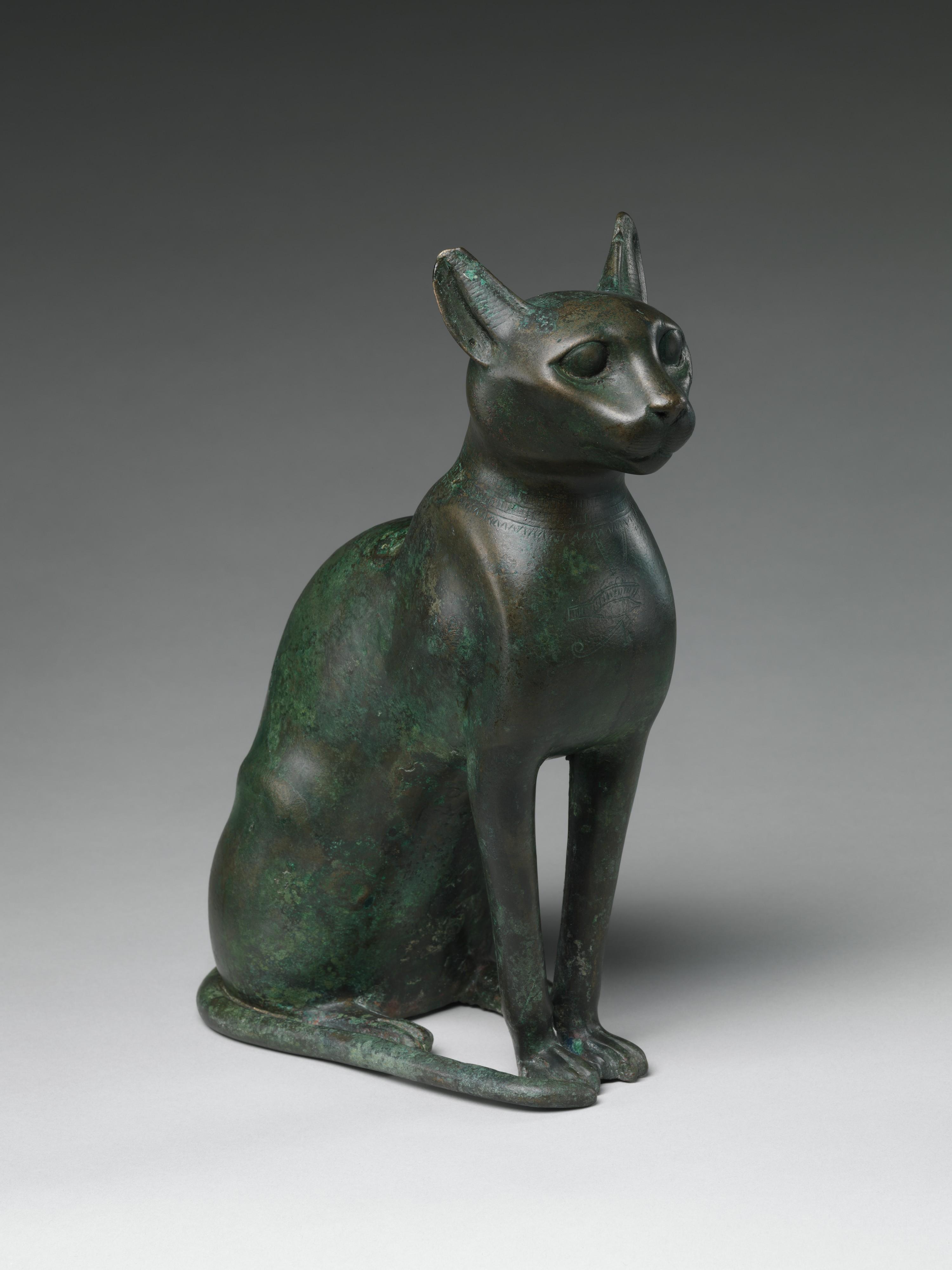 Egyptian, Ptolemaic Period, Cat Statuette, 332–30 B.C. Leaded bronze. The Metropolitan Museum of Art, Harris Brisbane Dick Fund, 1956.