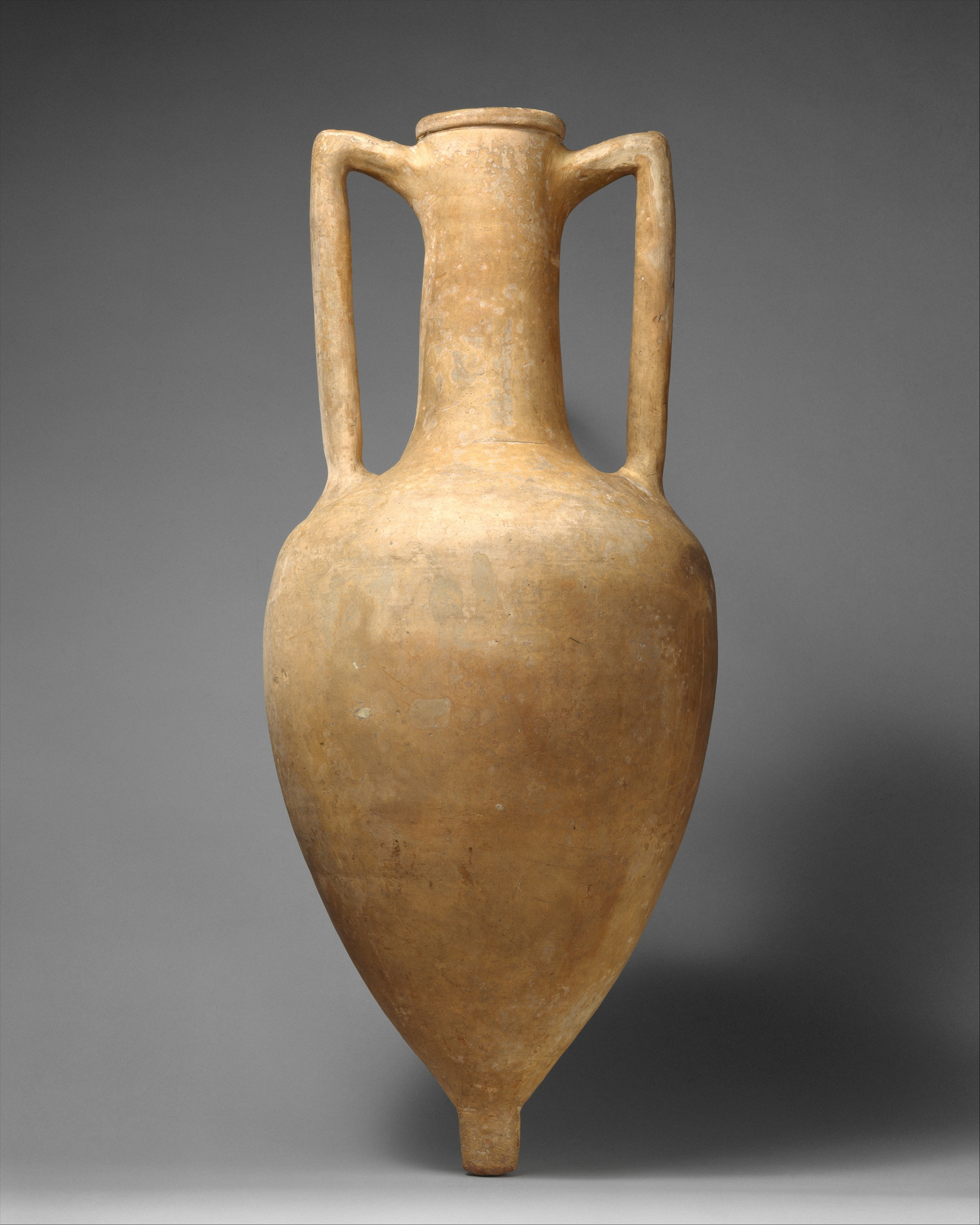 Hellenistic Greek, Terracotta Transport Amphora, late 3rd–mid-2nd century B.C. Terracotta. The Metropolitan Museum of Art, The Cesnola Collection, Purchased by subscription, 1874–76.