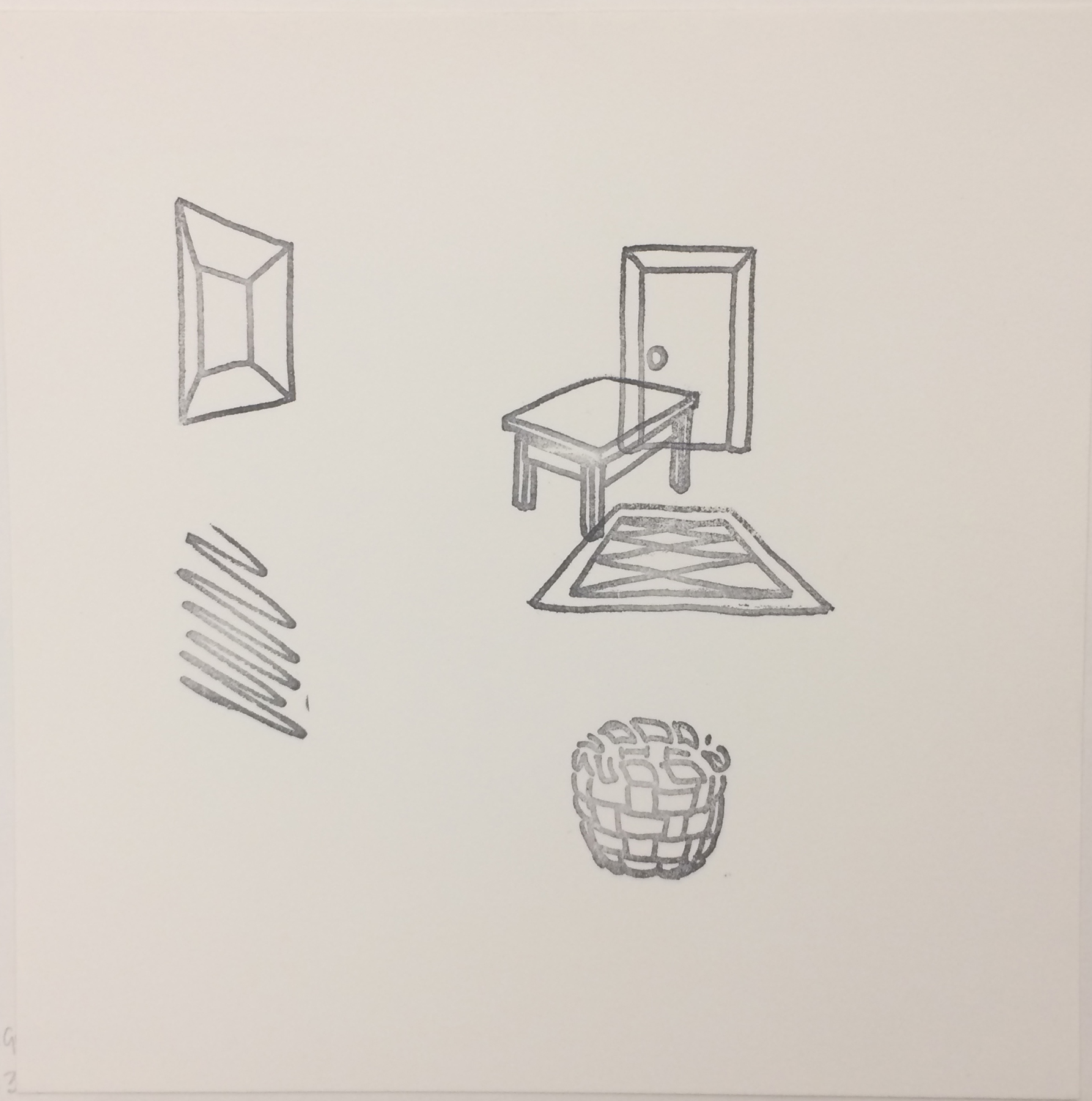 Richard Artschwager (American, 1924–2013), Untitled, from the Rubber Stamp Portfolio, 1976, published 1977. Rubber stamp print. Image and sheet: 8 × 8 in. (20.32 × 20.32 cm). Gift of Virginia M. and J. Thomas Maher M1994.263.2. © Artists Rights Society (ARS), New York.