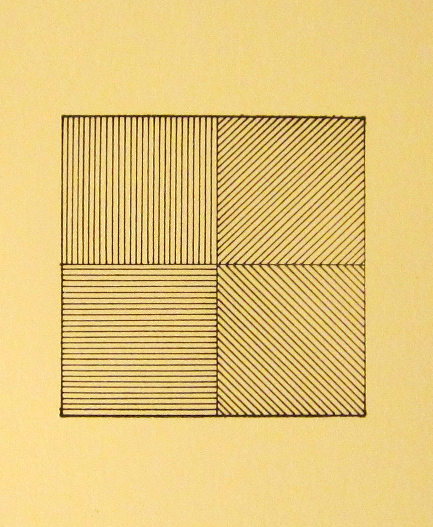 Sol LeWitt (American, 1928–2007), Lines in Four Directions, from the Rubber Stamp Portfolio, 1976, published 1977. Rubber stamp print. Image: 2 × 2 in. (5.08 × 5.08 cm); sheet: 8 × 8 in. (20.32 × 20.32 cm). Gift of Virginia M. and J. Thomas Maher III M1994.263.6. © Artists Rights Society (ARS), New York.