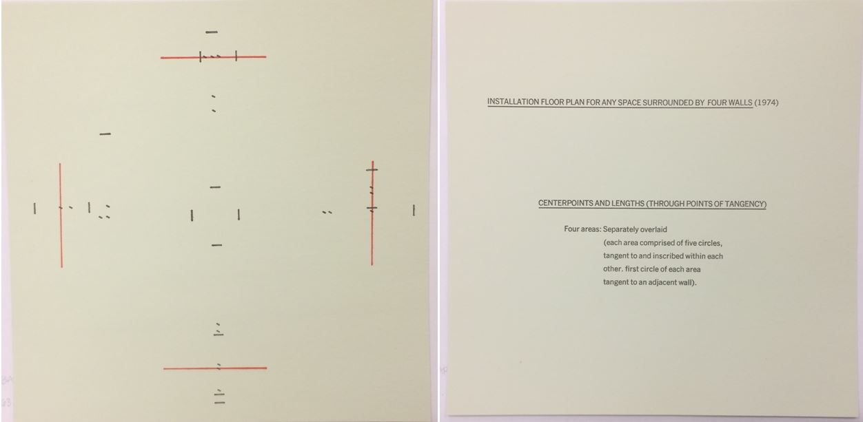 Barry Le Va (American, b. 1941), Installation Floor Plan for Any Space Surrounded by Four Walls (Center points and Lengths [through points of tangency]), from the Rubber Stamp Portfolio, 1974, published 1977. Rubber stamp print, printed in red and black on light green paper with sheet of printed instructions. Image and sheet: 8 × 8 in. (20.32 × 20.32 cm). Gift of Virginia M. and J. Thomas Maher III M1994.263.5. © 2016 Barry Le Va.