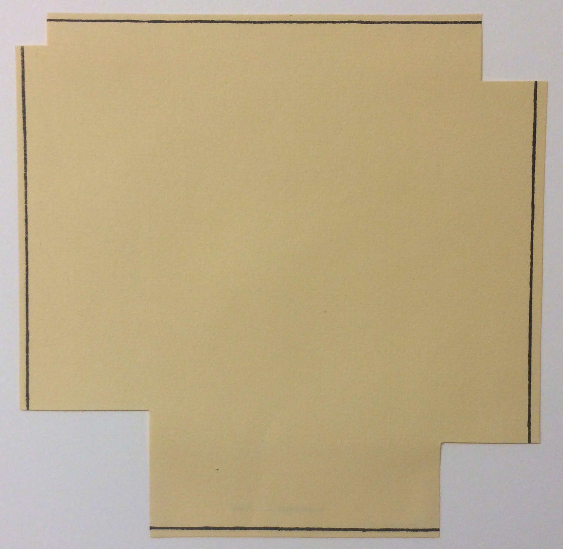 Robert Mangold (American, b. 1937), A Square with Four Squares Cut Away, from the Rubber Stamp Portfolio, 1976, published 1977. Rubber stamp print. Image and sheet: 8 × 8 in. (20.32 × 20.32 cm). Gift of Virginia M. and J. Thomas Maher III M1994.263.7. © Robert Mangold.