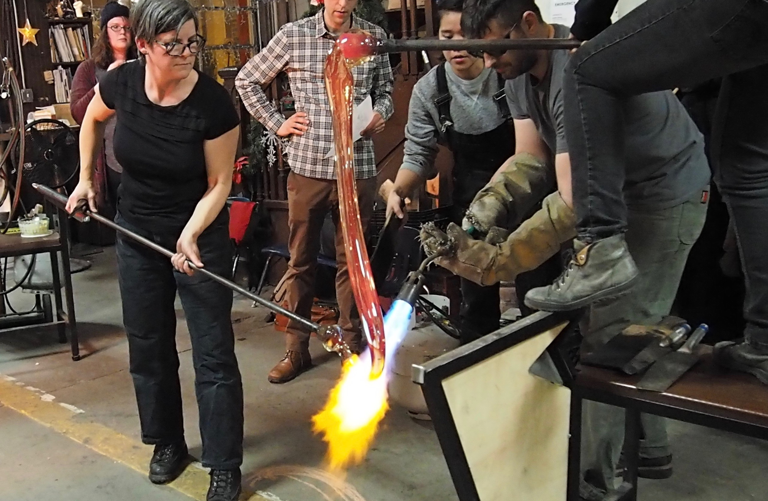 Pouring the glass waterfall in artist Beth Lipman's studio.