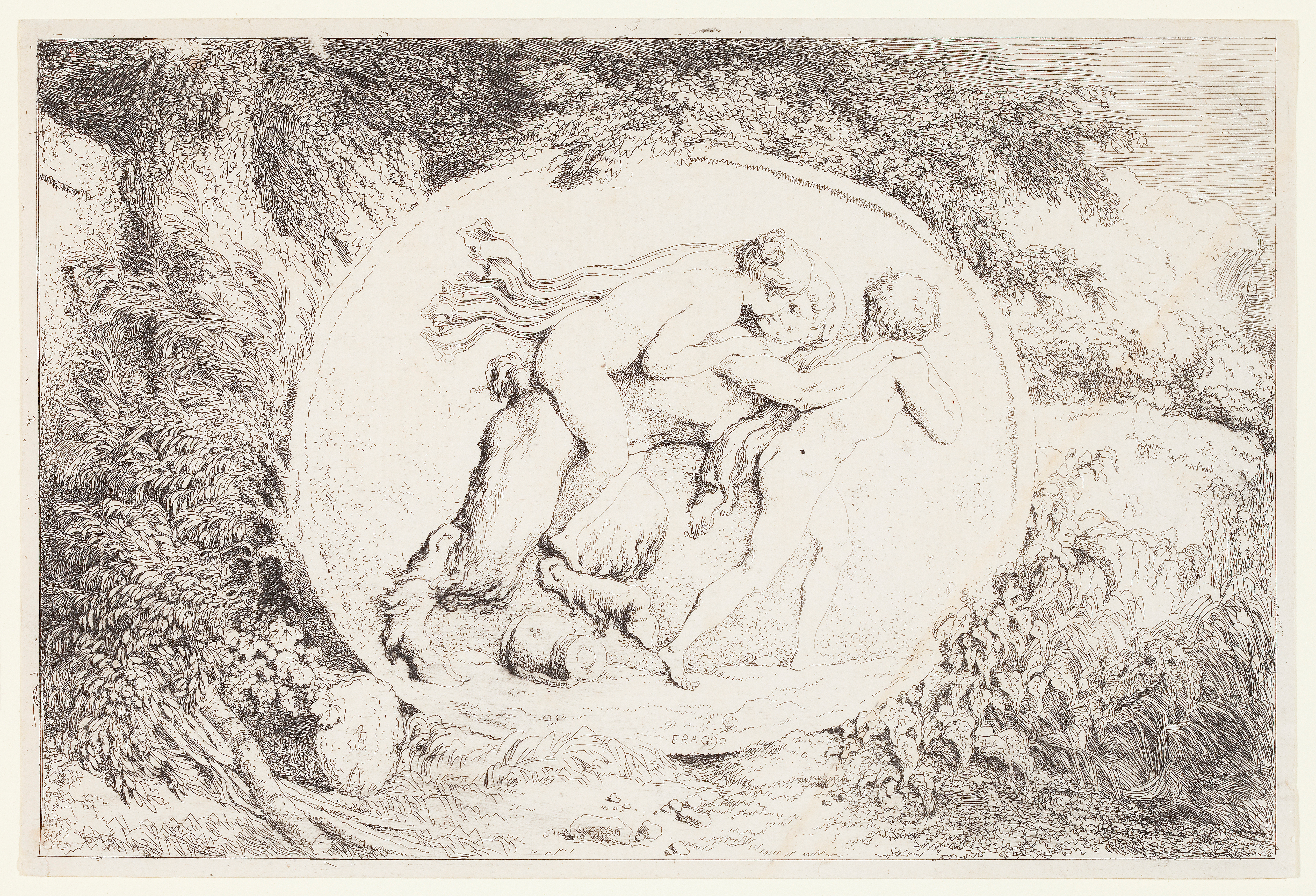 Jean-Honoré Fragonard (French, 1732–1806), Nymph Astride a Satyr, from the series Bacchanals, 1763. Etching. Plate and sheet: 5 9/16 × 8 5/16 in. (14.13 × 21.11 cm). Milwaukee Art Museum, Gift of the DASS Fund M2010.65.3. Photo credit: John R. Glembin.
