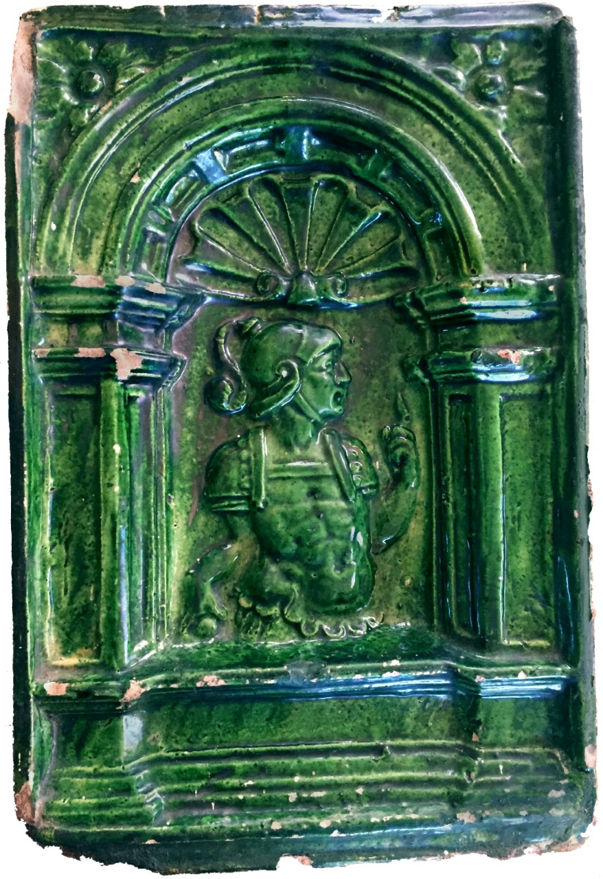 German, Orator Stove Tile, sixteenth century. Chipstone Foundation.
