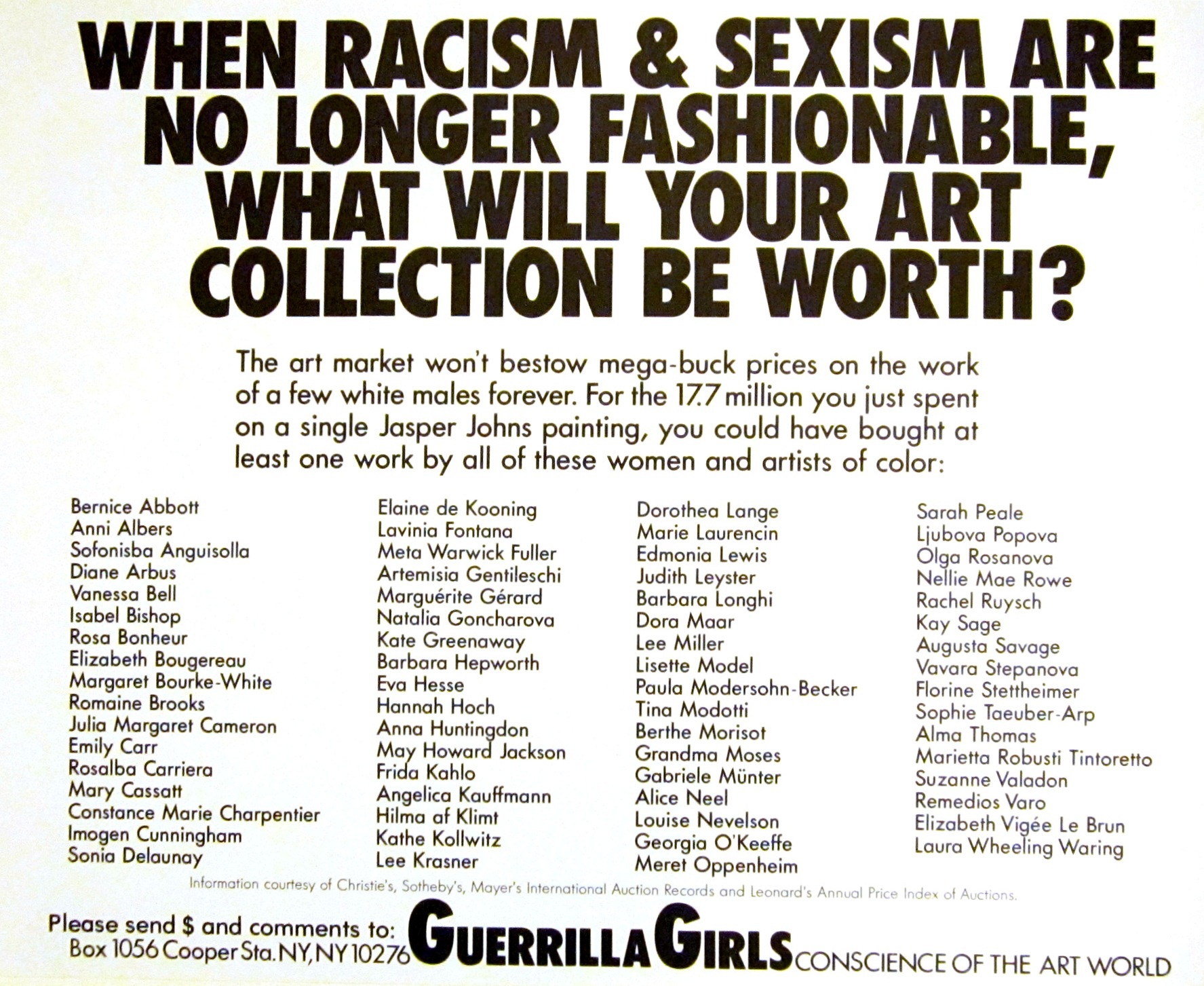 Guerrilla Girls (American, established 1985), When racism and sexism are no longer fashionable..., from the portfolio Guerrilla Girls Talk Back: The First Five Years, 1984–89. Offset lithograph. Milwaukee Art Museum, Purchase, with funds from Peggy Daum Judge Bequest M1993.302.23. Photo credit: Tina Schinabeck. © Guerrilla Girls.