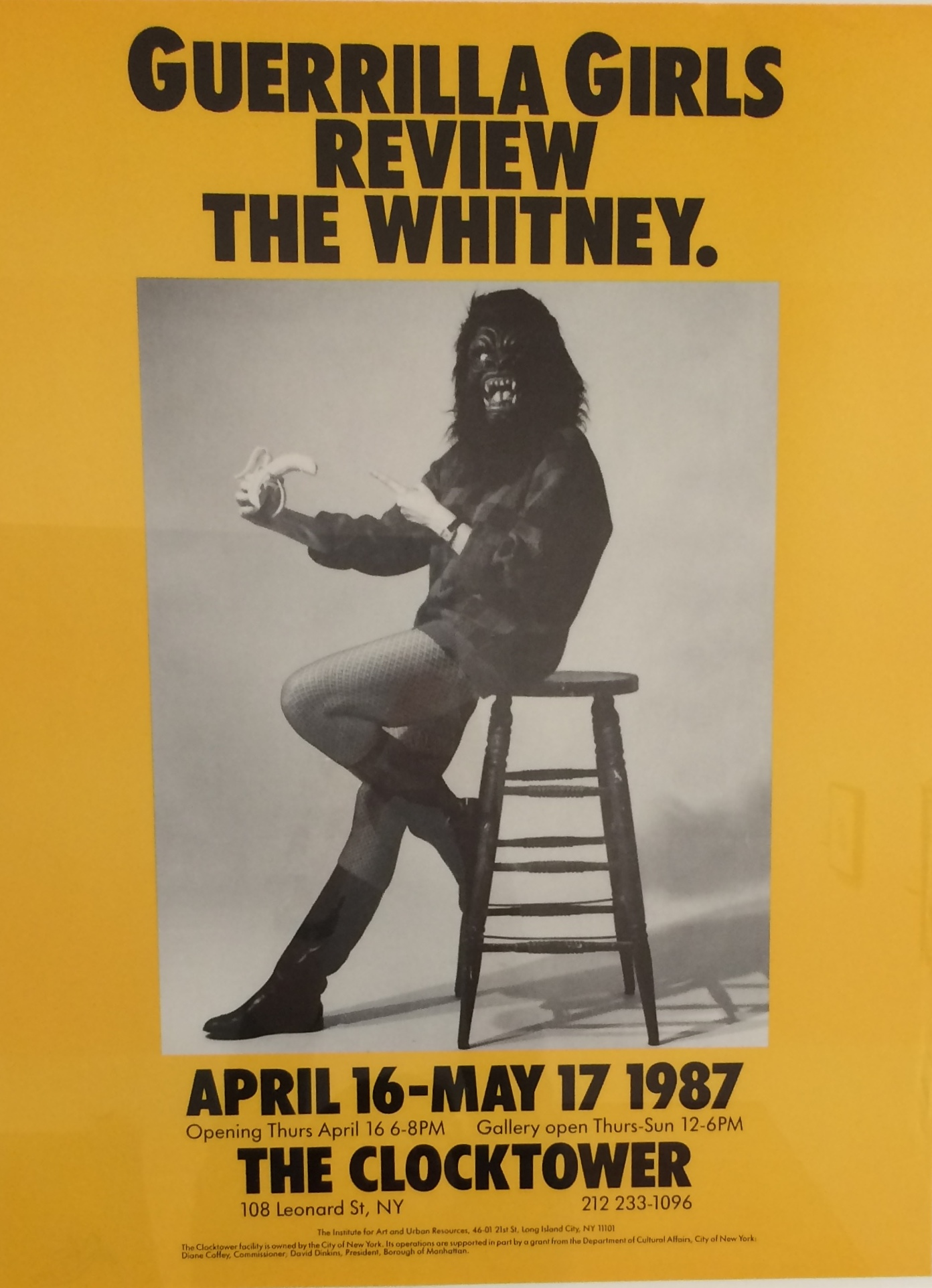 Guerrilla Girls (American, established 1985), Guerrilla Girls Review the Whitney (Clocktower Show), from the portfolio Guerrilla Girls Talk Back: The First Five Years, 1984–89. Offset lithograph. Milwaukee Art Museum, Purchase, with funds from Peggy Daum Judge Bequest M1993.302.15. Photo credit: Tina Schinabeck. © Guerrilla Girls.
