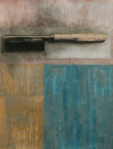 Tyanna Buie (American, b. 1984). Still Life #2, 2014. Acrylic, charcoal, and monoprint on paper. Collection of Sande Robinson.