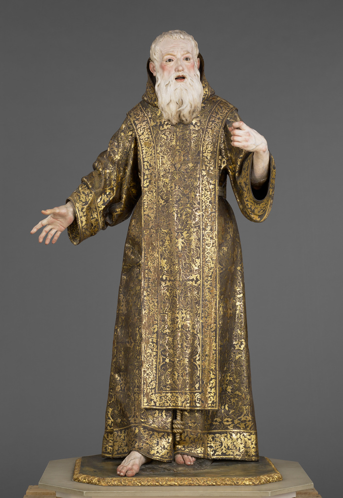 """Saint Ginés de la Jara, ca. 1692, sculpted by Luisa Roldán, called """"La Roldana"""" (Spanish, 1652-1706) and polychromed by Tomás de Los Arcos (Spanish, born 1661). Polychromed wood (pine and cedar) with glass eyes. 175.9 × 91.9 × 74 cm (69 1/4 × 36 3/16 × 29 1/8 in.). The J. Paul Getty Museum 85.SD.161. Digital image courtesy of the Getty's Open Content Program."""