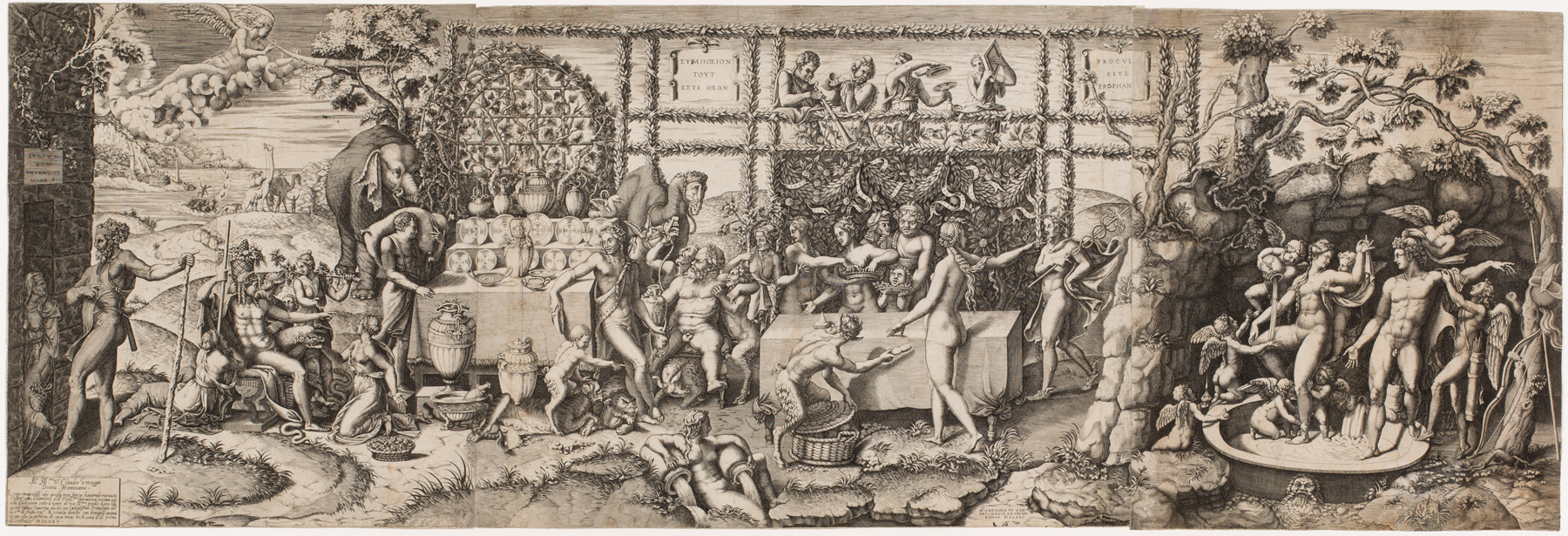 Scene of people laying around and eating, drinking, and talking
