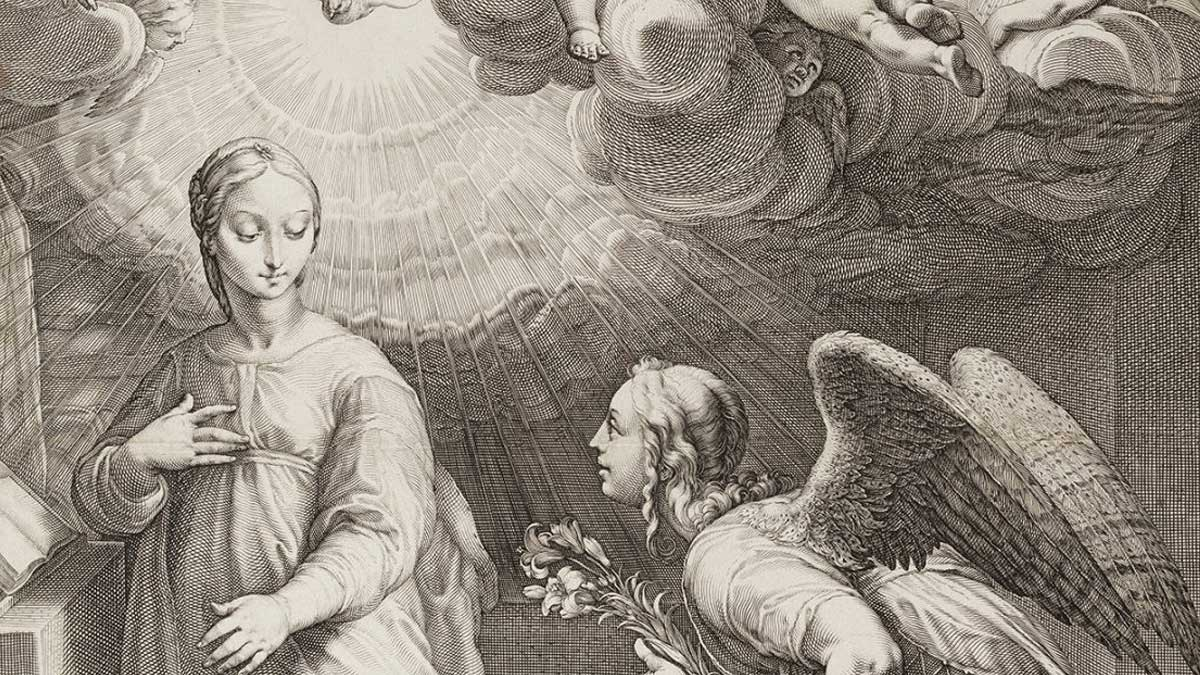 Winged woman holding flowers out to a pregnant woman with cupids above