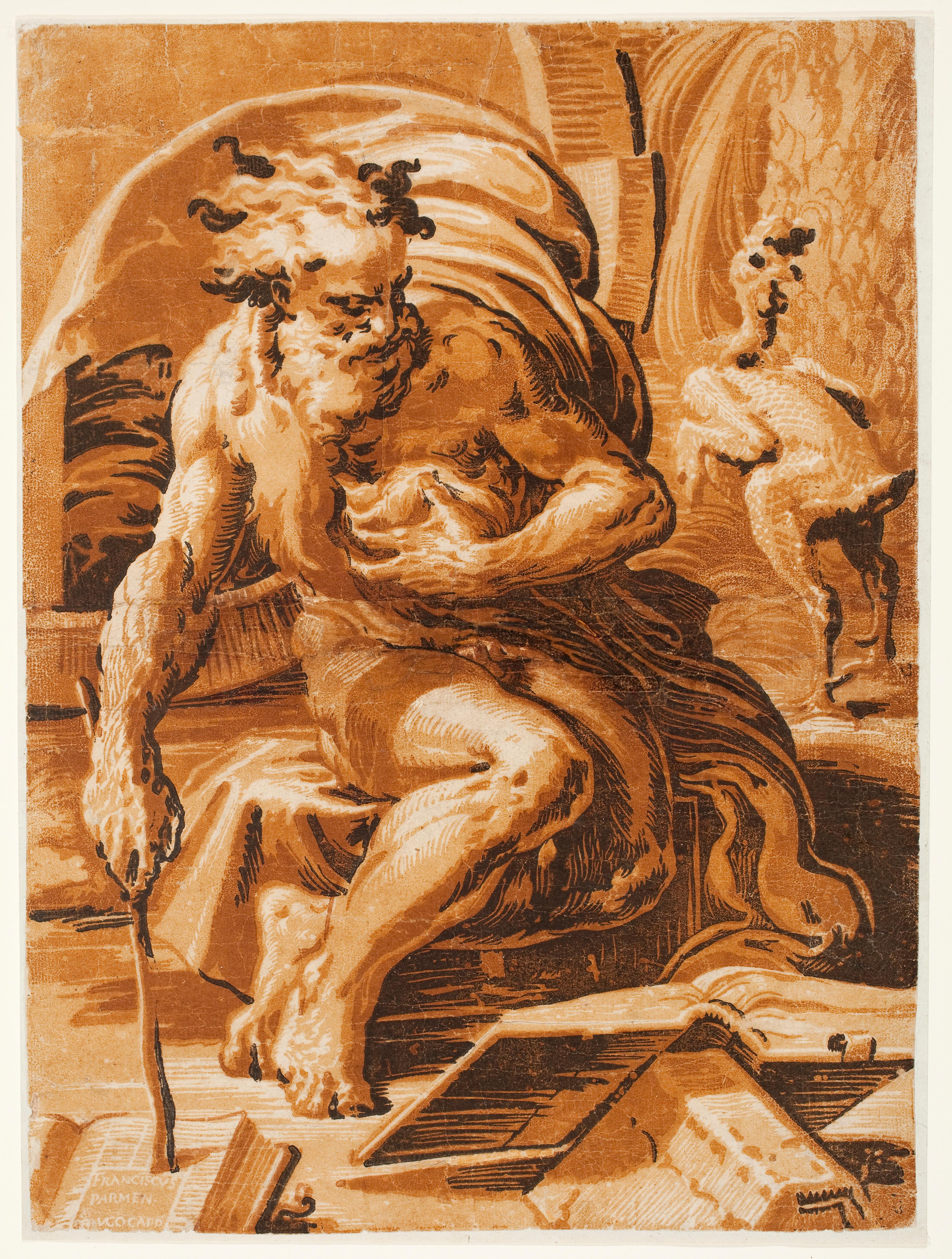 Ugo da Carpi (Italian, active 1502–1532), after Parmigianino (Italian, 1503–1540), Diogenes, ca. 1527.Color chiaroscuro woodcut. Milwaukee Art Museum, Gift of Howard L. Zetteler through Print Forum, in memory of Evelyn H. Zetteler, his wife M1983.8. Photo credit: John R. Glembin.