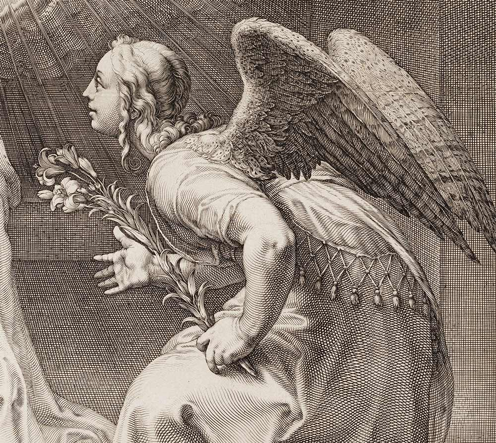 Closeup of a winged woman holding out flowers