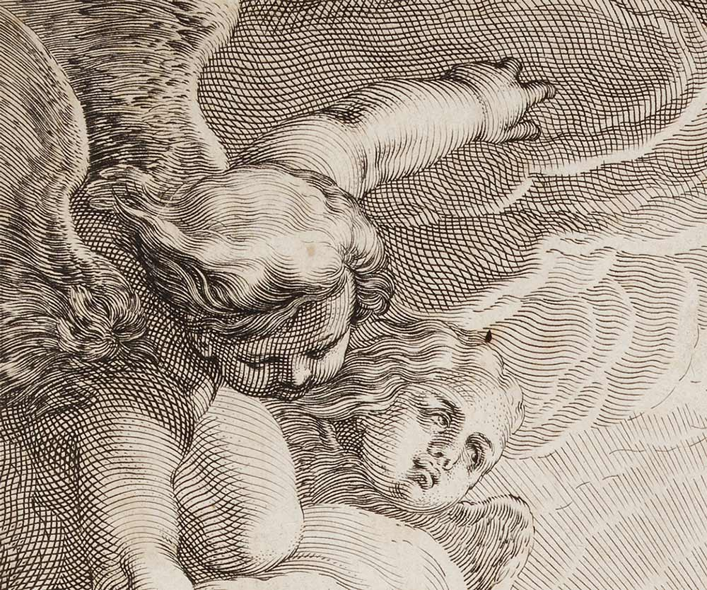 Closeup of a cupid and another cupid's face