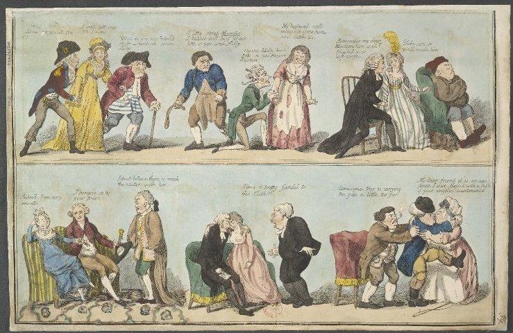 Isaac Cruikshank (British, 1764–1811), Symptoms of Crim. Con.!!, 1796. Hand-colored etching. The British Museum 1935,0522.8.39 © Trustees of the British Museum.