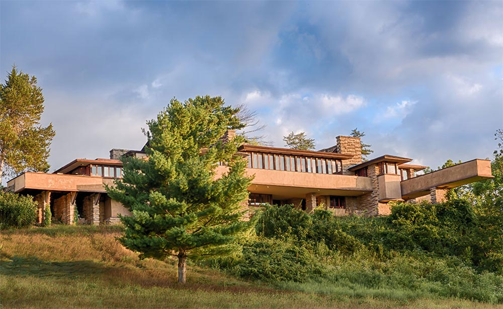 Exterior view of Frank Lloyd Wright's home overlooking Wisconsin's Spring Greens