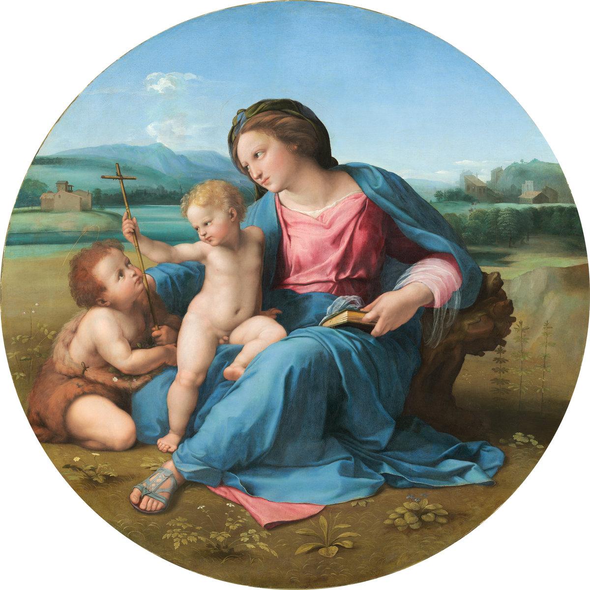 Raphael (Italian, 1483–1520), The Alba Madonna, ca. 1510. Oil on panel transferred to canvas. Courtesy National Gallery of Art, Washington.