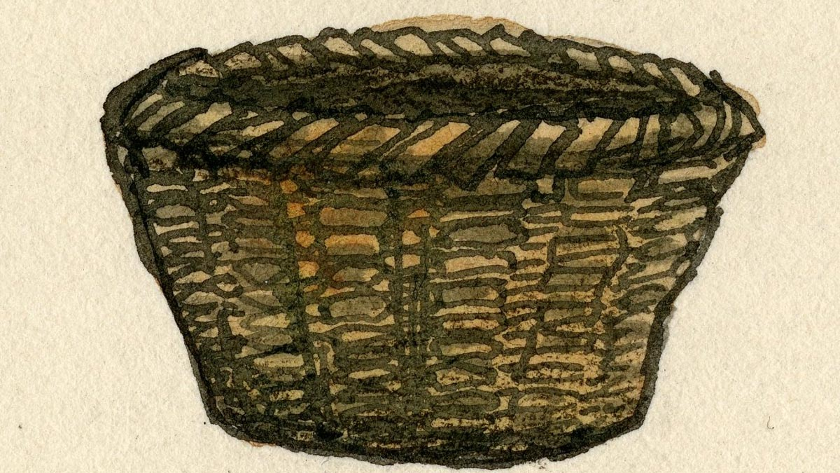 Painting of a brown, woven basket