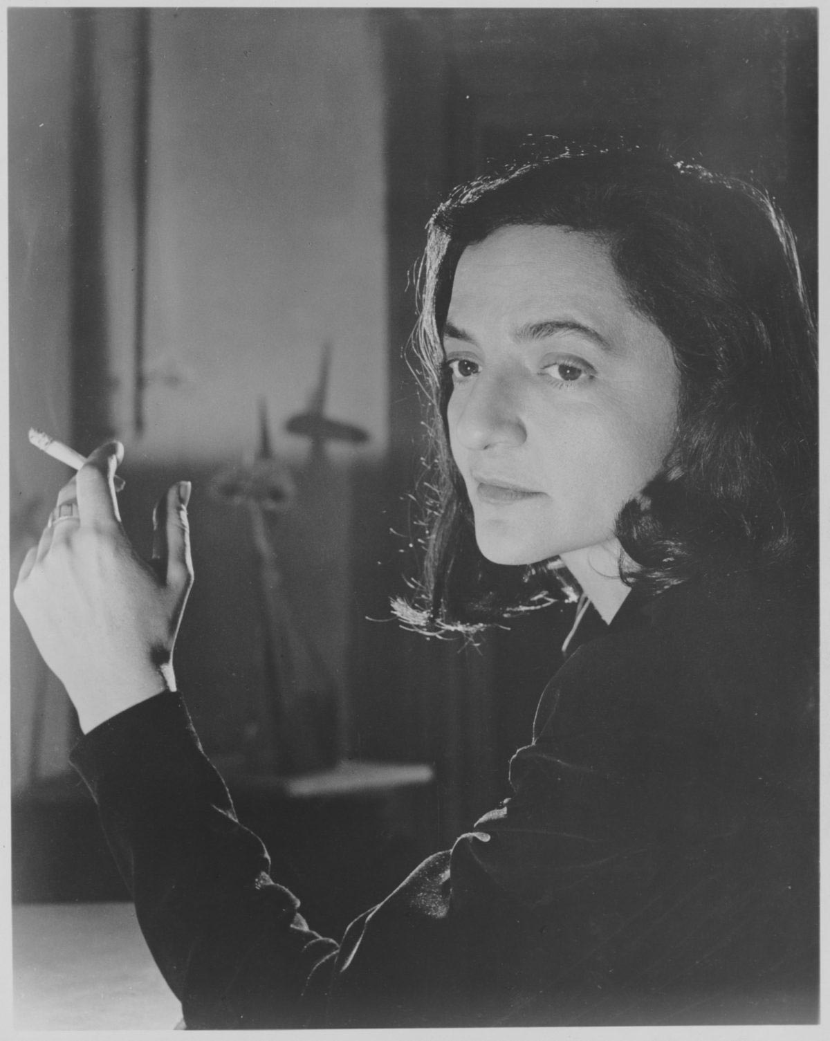 """Zahara Schatz, publicity photograph released in connection with the exhibition, """"New Lamps,"""" March 27, 1951–June 3, 1951. Photographic Archive. The Museum of Modern Art Archives, New York. IN473.4."""