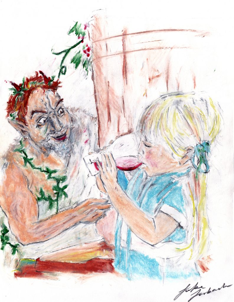 Little girl drinking a glass of wine while a satyr watches