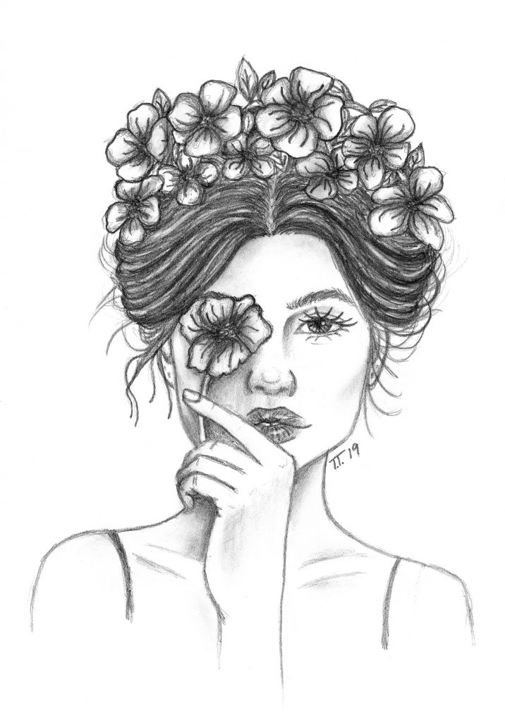 Pencil drawing of a women with her hair up with flowers and holding a flower to one eye