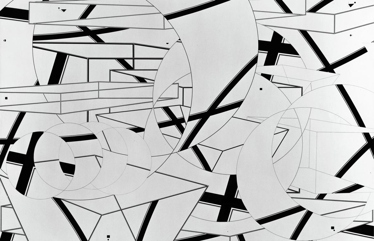 Abstract art with black and white shapes