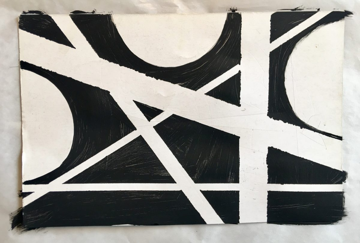 Black and white abstract shape painting
