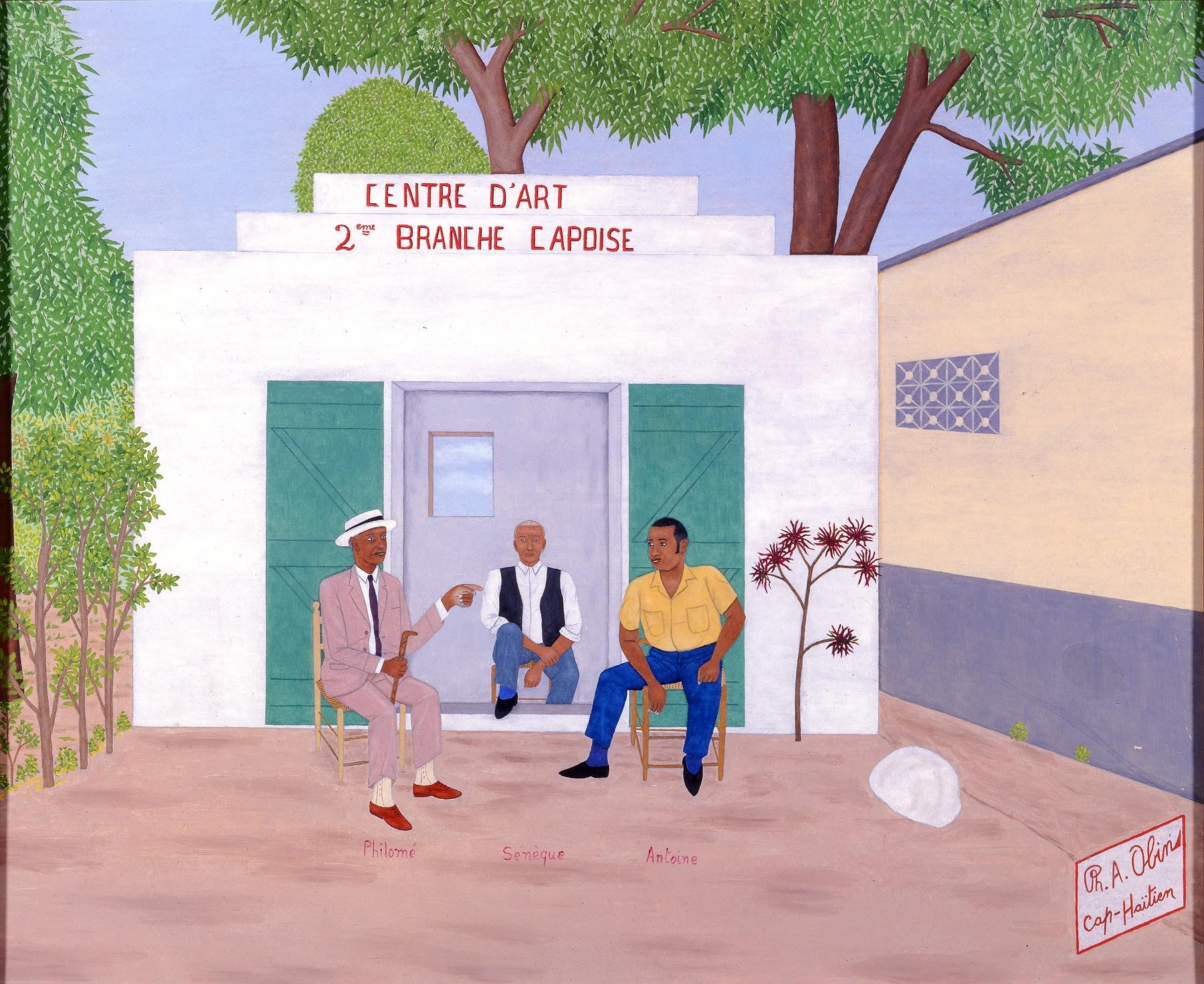Three men sitting in chairs in front of a building